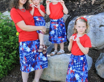 Mommy and Me Skirts - Matching Skirts - Indepence Day - Red, White, and Blue - Maxi Skirts - Modest - Custom Made - Knee Length Skirt