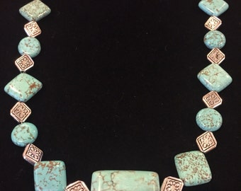 Turquoise necklace with silver accent beads