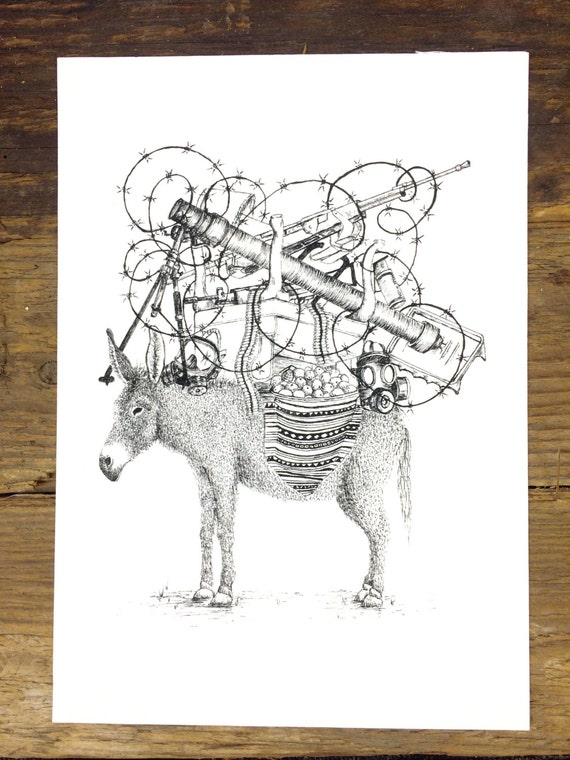 Revolutionary Donkey signed giclee print - wall art - pen and ink drawing - animal illustration