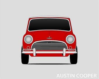 Classic Mini Cooper Poster // British // Austin Mini // Mark I Mini // Austin 850 // Austin Seven, Morris 850 // Morris Mini Poster