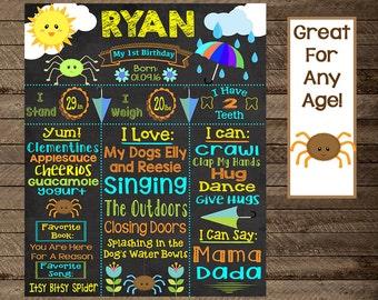 itsy bitsy spider birthday theme, itsy bitty spider chalkboard, itsy bitsy first birthday, boy's first birthday chalkboard, nursery rhyme