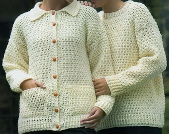 Aran Cardigan And Sweater, Crochet Pattern. PDF Instant Download.