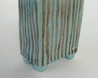 Cute little ceramic trinket box in stripped turquoise, elegant clay vessel with lid, glazed slab built rectangular box