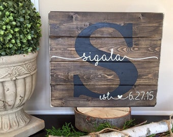 Last Name Sign, Established Sign, Name Sign, Custom Wedding Gift, Anniversary Gift, Housewarming Gift, Pallet wood Sign family Sign