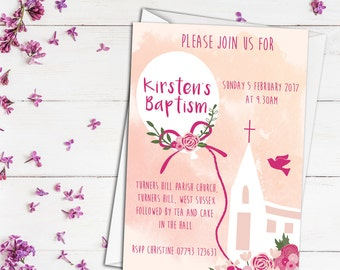 Personalised Christening invite, personalised naming day invite, customised baptism invitation