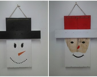 Reversible Santa/Snowman Hanging Door Ornament