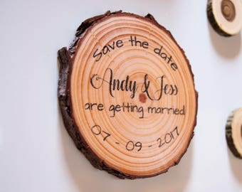 Wood Slice Save The Date Magnets, Save-The-Date, Wooden Save The Date Magnets, Rustic Save the Date Magnets, Wood Magnet Save The Date