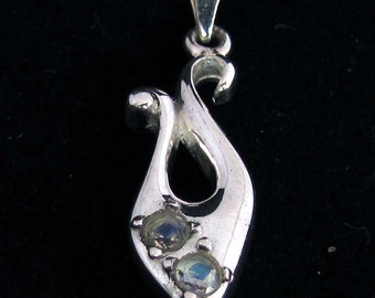 Sterling silver gemstone pendant with 2 round cut blue Moonstones