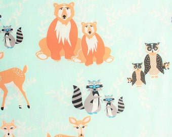 Hello Bear, Art Gallery Fabrics, AGF, Bonnie Christine, Mint Green, Cotton Fabric, Woodland, Bear, Fox, Racoon, Deer, Owl, Half Metre