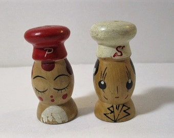 On Sale, 1950's Kitschy Small Wood Chef Salt and Pepper Shakers, Made in Japan
