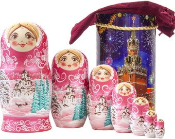 "Russian Nesting Doll - BIG SIZE - 7 dolls in 1 -  ""Winters Tale"" - Pink Color - Hand Painted in Russia"