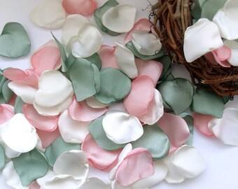 Petals of peach, gray-green petals, pastel petals, Silk petals,Petal Decor,table decoration,Petals Handmade,Fabric Petals,Table Scatters