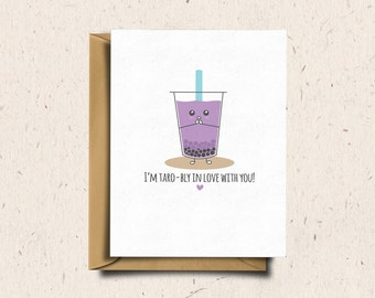 Bubble Tea Greeting Card, Boba Tea, Anniversary Card, Love Card Cute Card, Punny Card, Kawaii Card | I'm Taro-bly In Love With You!