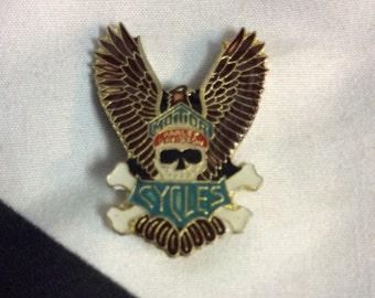 Harley Davidson Motorcycles Skull Cross Bones Eagle Wings, Vintage Enamel Pin