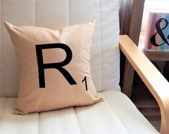 Scrabble Throw Pillow Personalized Throw Pillow Nursery Decor Home Decor Pillow Cover Letter Throw Pillow