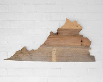 Virginia State Map Reclaimed Wood Wall Art