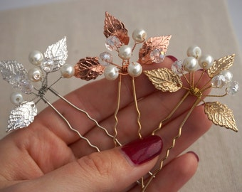 Bridal hair pins, wedding hair pin, pearl hair pin, freshwater pearls, nature inspired,  bridal hair accessories, rose gold hairpin