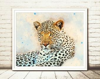 Leopard painting, Leopard print, Leopard art, Leopard watercolor, Safari animal prints,Leopard decor,Leopard wall art,Safari art,Cheetah art