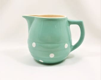 Vintage Retro Pastel Green and White Polka Dot Milk Jug c1960's