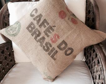 Cushion Cover Hemp Linen, Up-cycled Coffee Bean Bag