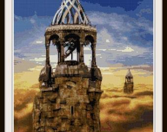 Fantasy Cross Stitch Pattern - Castle, Fantasy - PDF Download