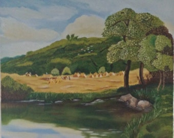 "Original oil painting ""The Haymaking"""