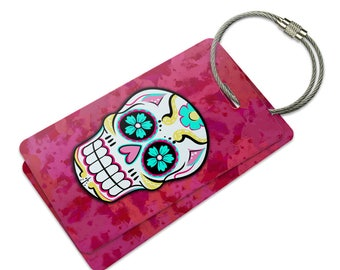 Sugar Skull Suitcase Bag Id Luggage Tag Set