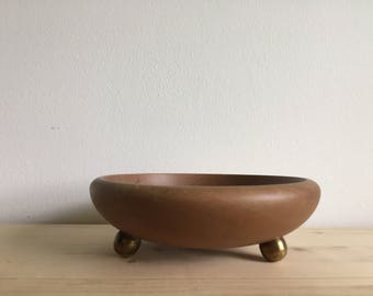 Mid century wood and brass bowl