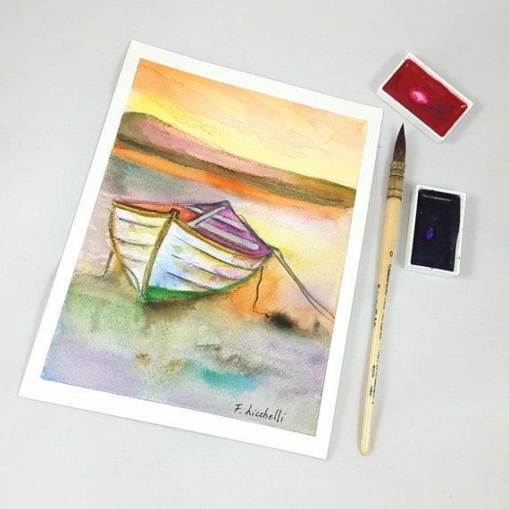 Seascape with boat on sunset, traditional watercolor, copy of author, warm colors, gift idea for him, beach house decoration, office decore.