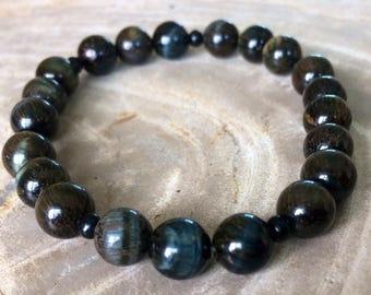 Blue Tiger Eye Hawk's Eye Stretch Bracelet! Premium Beads Healing Bracelet! Natural Healing Jewelry Meditation Protection