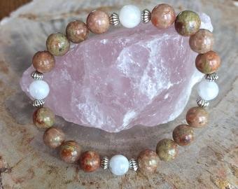 Autumn Jasper & Rainbow Moonstone Medicine Wheel Stretch Bracelet! Premium Beads Healing Bracelet! Natural Healing Jewelry Meditation