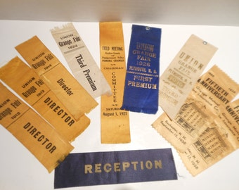 Vintage Union Grange Fair Ribbons/Plymouth N.H./1912-1938/set of 10