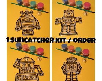 Robot Suncatcher Painting Kit Craft Activity for Kids (makes 1) Robot Party Favors - Robot Craft - Robot Birthday Favor - Science Party
