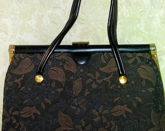 Vintage 1960's Verdi Black & Brown Chenille handbag Made in the USA