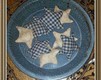 primitive blue homespun stars tucks, OFG, FAAP,muslin stars, everyday primitive needfuls, star bowl fillers, candle fillers