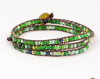 Triple leather beaded bracelet, leather bracelet