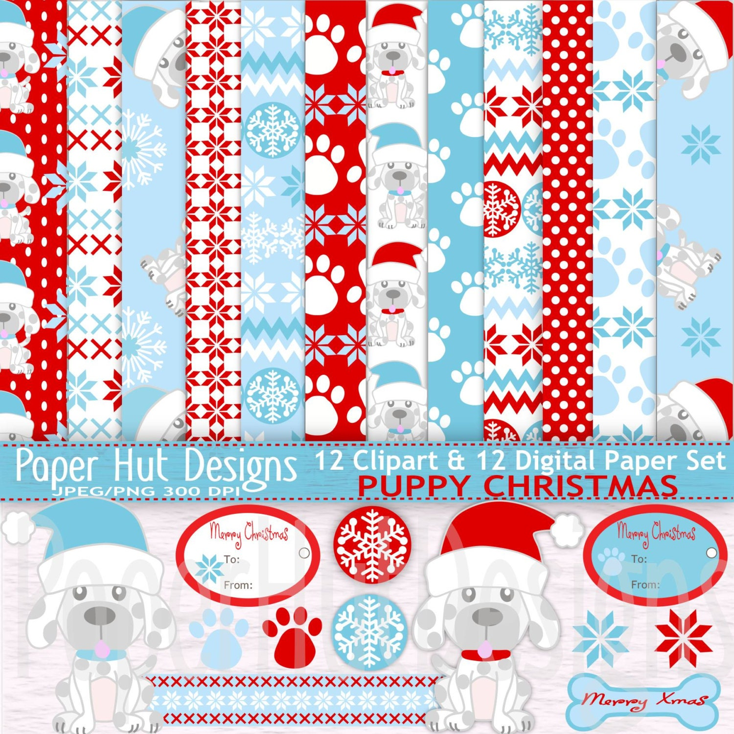 Scrapbook paper dogs - Christmas Digital Papers Christmas Clipart Paper Set Holiday Christmas Puppy Dog Clip Art Paws Labels Blue And Red