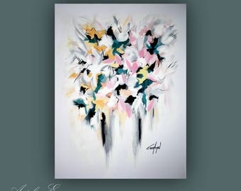 "SALE - Original Painting, Abstract Flower Painting, Contemporary Art, Abstract Painting, Modern Painting on Paper 18""x24"""