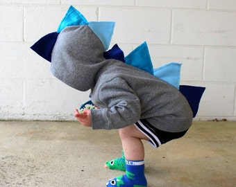 Baby Boy Blue Dino Hoodie Birthday Gift  - Dinosaur Hoodie, Dinosaur Sweater,  Dinosaur Costume ,  Dinosaur Party, Toddler Blue Dino Hoodie