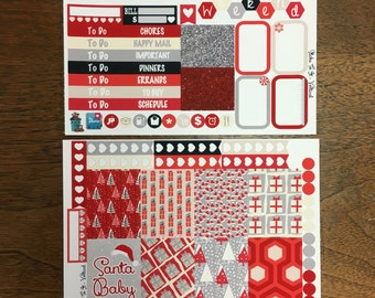Santa Baby Christmas Mini Weekly Set Horz and Vert Planner Stickers - Full ECLP Mambi Inkwell Press Filofax Kikki K Holiday Winter