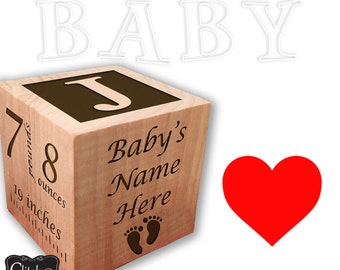 Personalized Baby's First Birthday Wood Block Ornament
