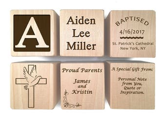 Catholic Gifts - Boy Baptism Gifts - Baptism Gift Girl - Keepsake Custom Engraved wooden baby blocks for newborn girl newborn boy