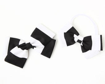 Baby Girl, Toddler, Girls Fabric Bow, Newborn, Hand tied bow- Black and white stripes
