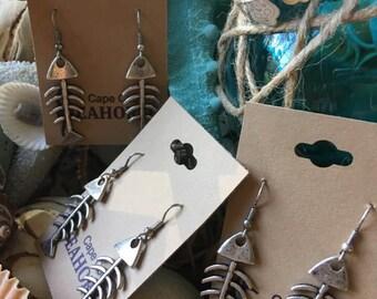 Fish Bone Earrings,Dangle,Coastal,Nautical,Ocean,Jewelry