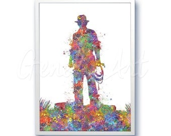 Indiana Jones Movie Film Poster [2] Harrison Ford Watercolor Art - Wall Decor - Watercolor Painting - Watercolor Art