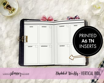 Printed A6 Undated Vertical Weekly Travelers Notebook | Vertical Weekly Planner Insert | No3/A6 TN Inserts