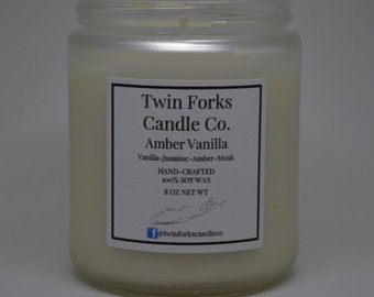Amber Vanilla Soy Candle 8oz -jar -home scent candle-fresh scent candle-fresh Scent-home decor