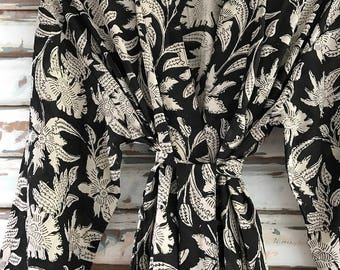 Kiyomi Black Bagru Print Kimono Robe Dressing Gown