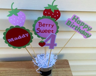 6 Piece Strawberry Theme Centerpiece Set, Strawberry Shortcake Centerpiece Sticks, Strawberry Party Theme