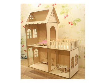 Wooden Dolls house with furniture and balcony,  barbie  doll house,  Girl house with attic , Nursery decor, Present for girl, Plywood house
